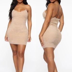 Fashion Nova Fuzzy Feelings Taupe Mini Dress Sz XS